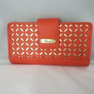 Buxton Women's Orange Metallic Laser Cut Wallet
